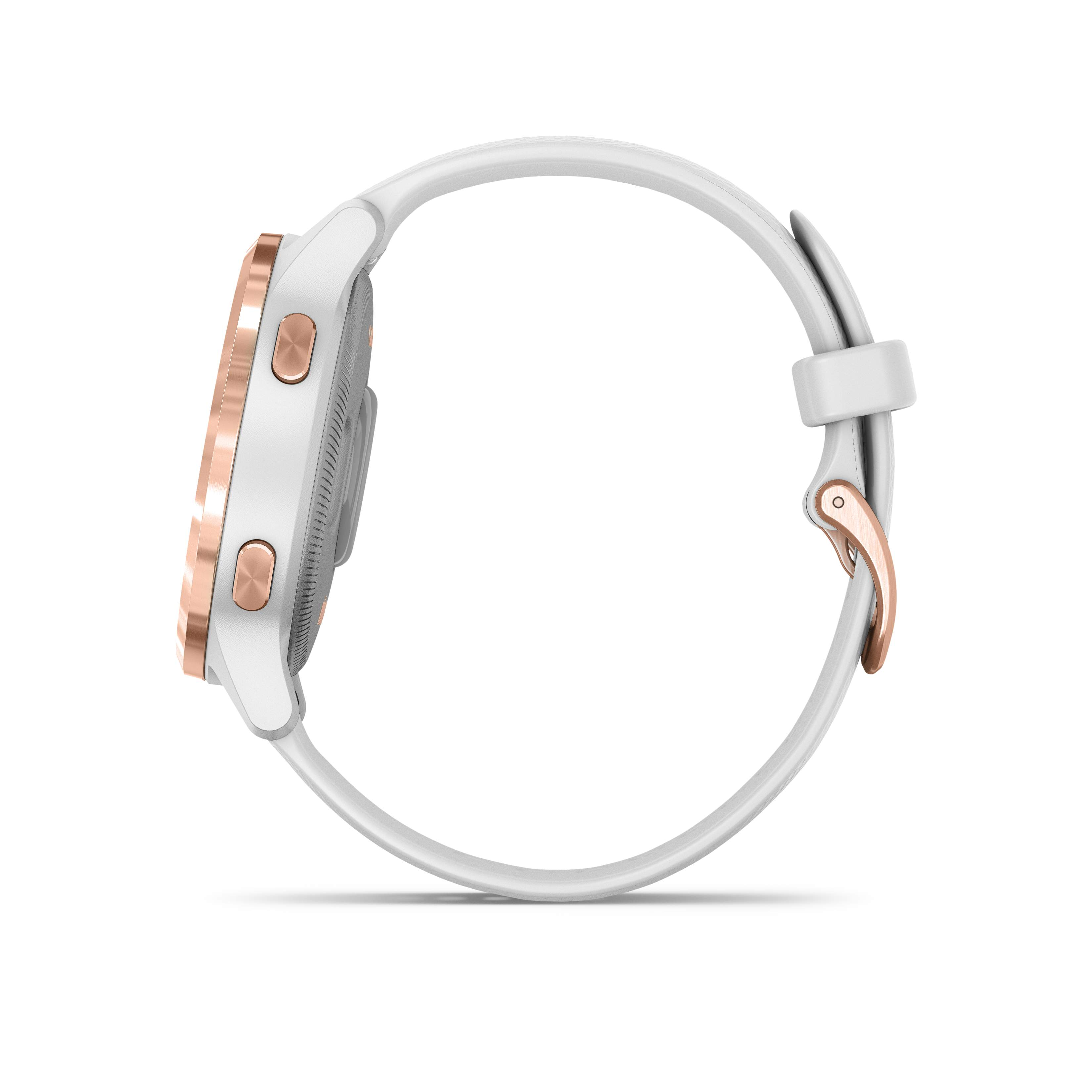 VIVOACTIVE 4S Weiss/Rosegold Metall-Luenette mit Schnellwechsel-Silikon-Armband 18mm