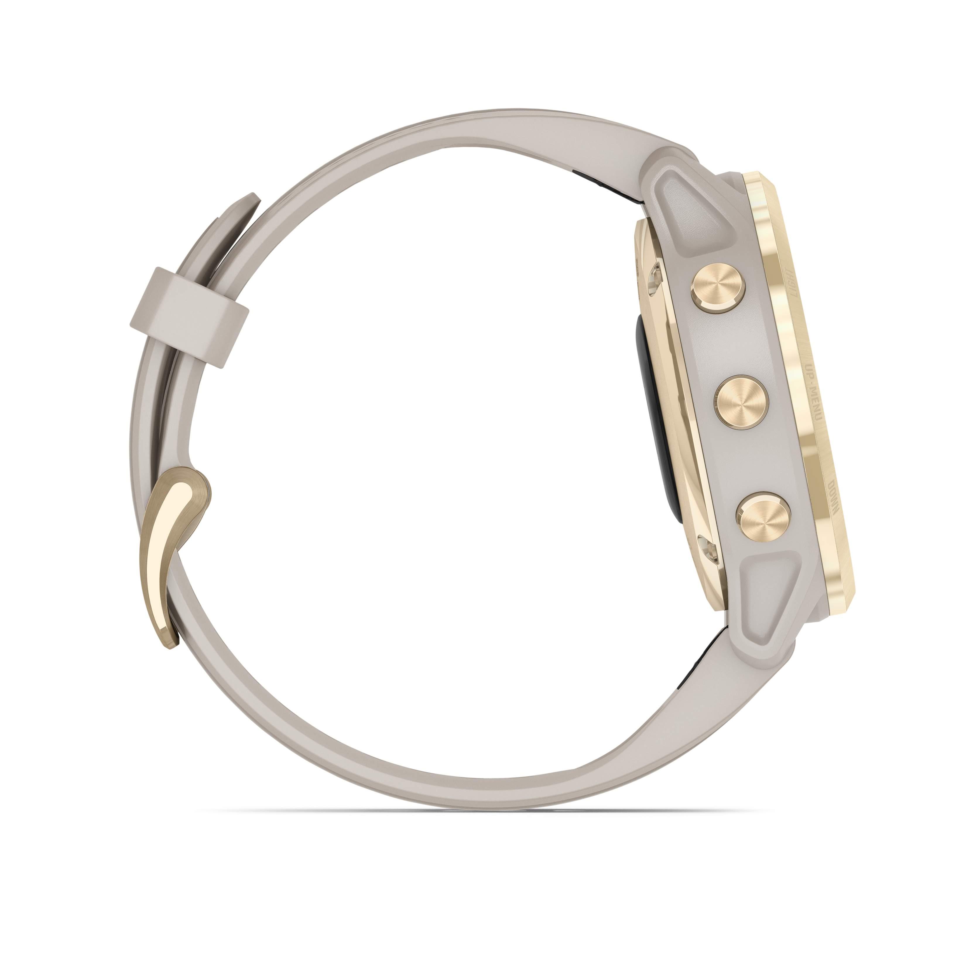 Garmin fēnix® 6S – Pro Solar, Weißgold mit beigefarbenem Armband