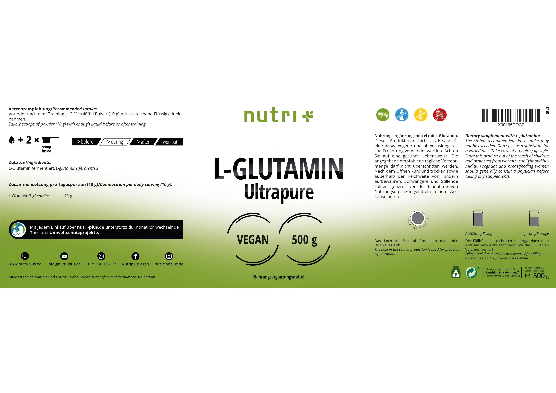 nutri+ L-Glutamin Pulver Ultrapure