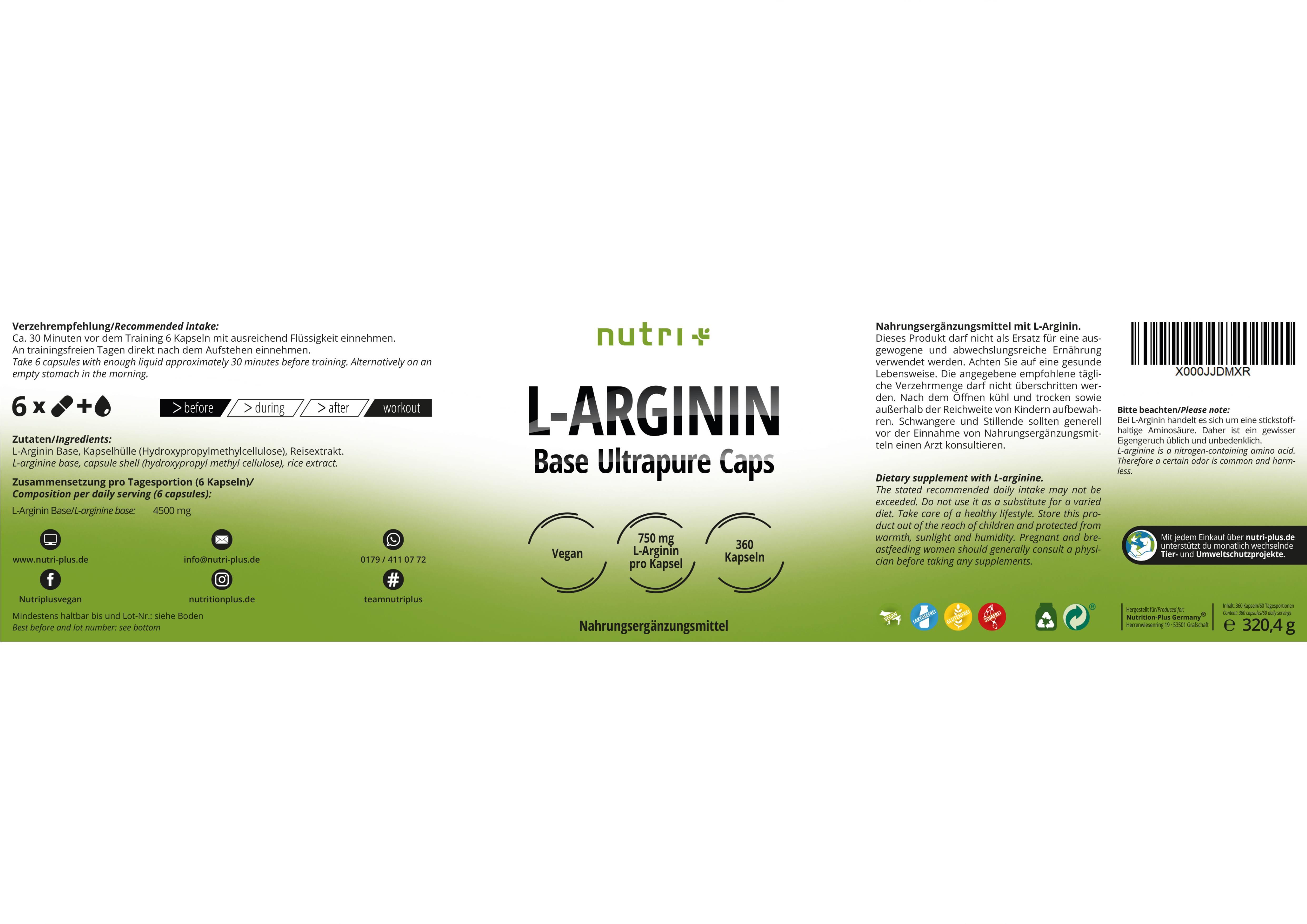nutri+ L-Arginin Base Ultrapure Kapseln
