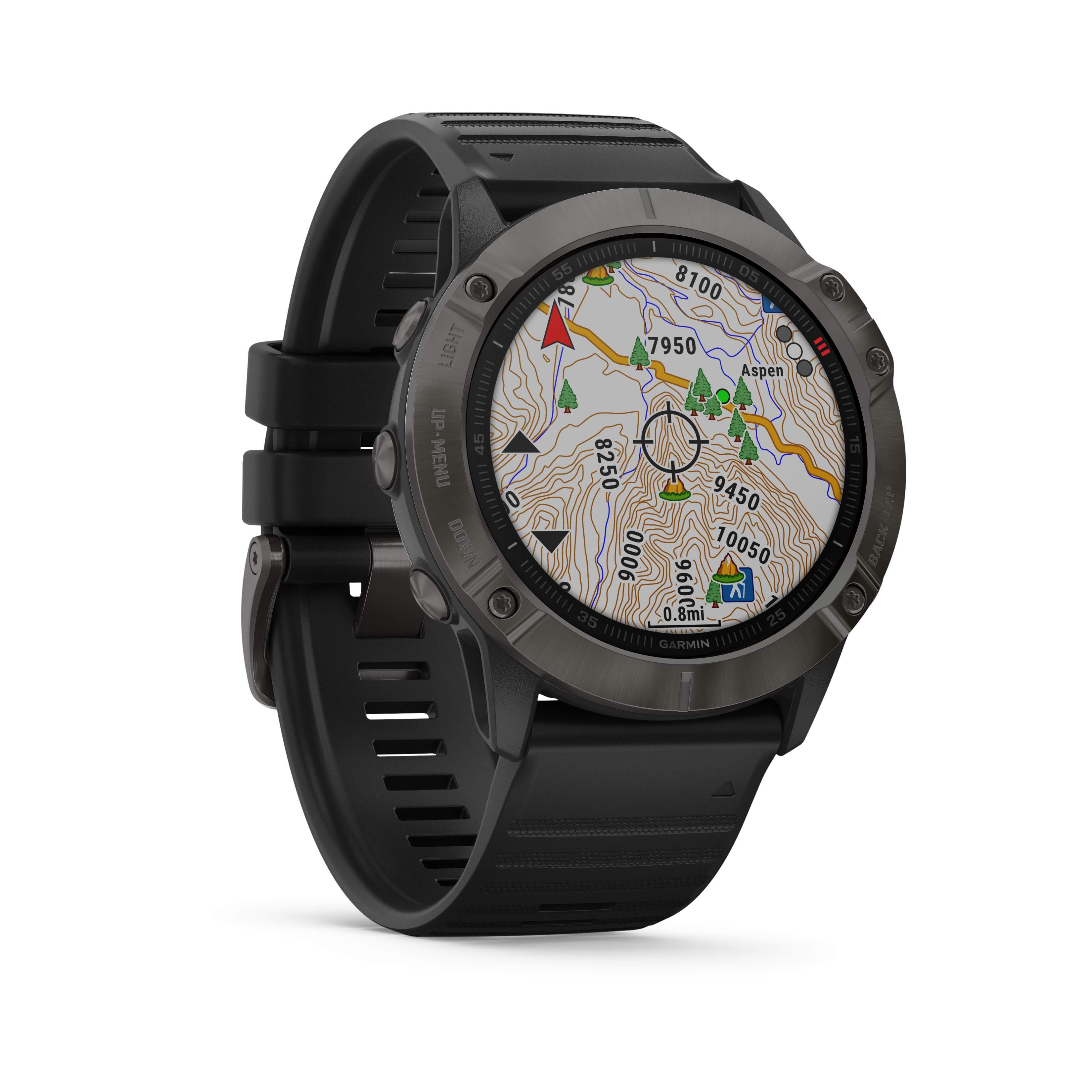 Garmin fēnix® 6X SAPPHIRE Schwarz/Schiefergrau DLC Saphirglas mit QUICKFIT-Silikon-Armband 26mm Schwarz