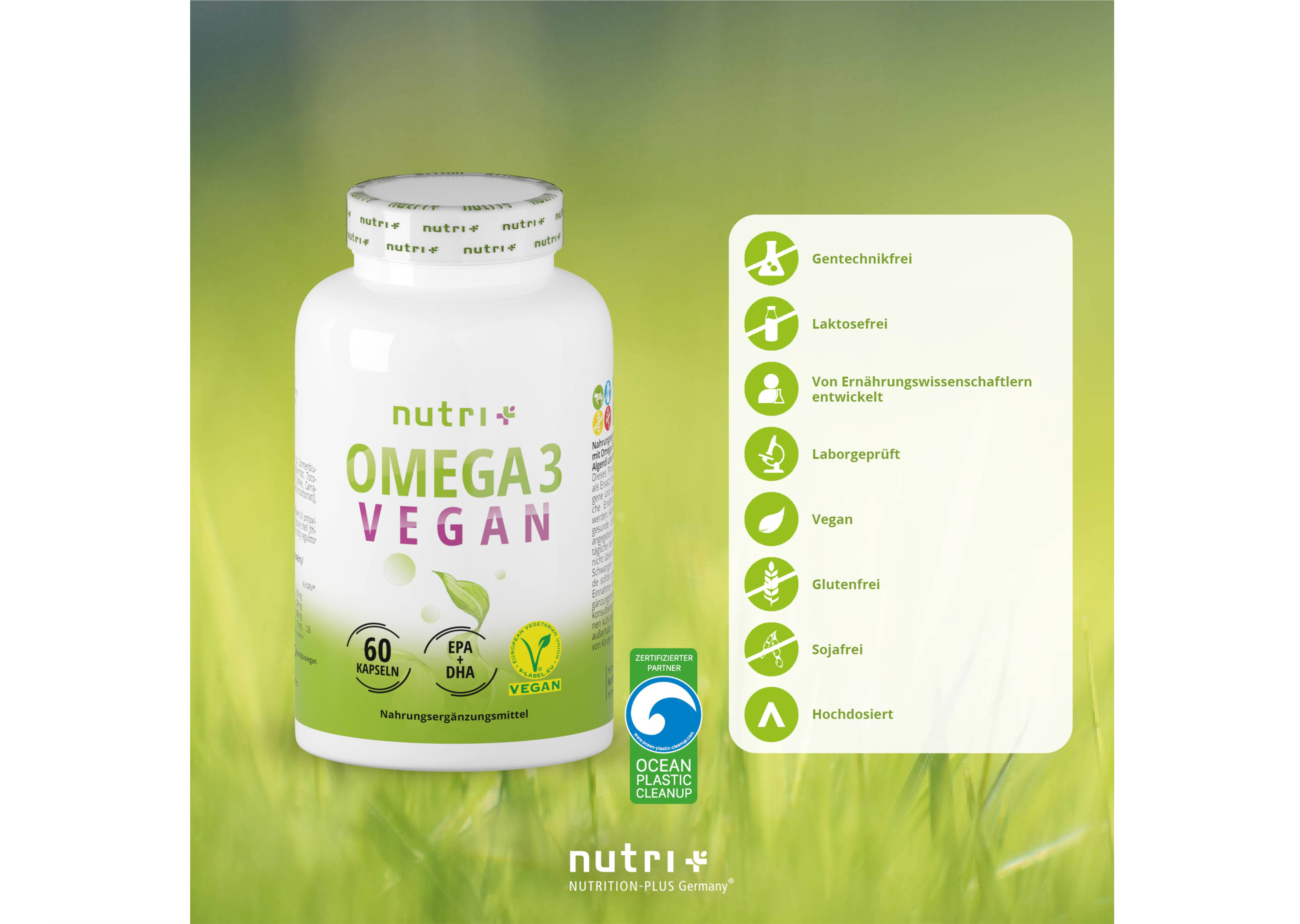 nutri+ Omega 3 Vegan - mit EPA + DHA