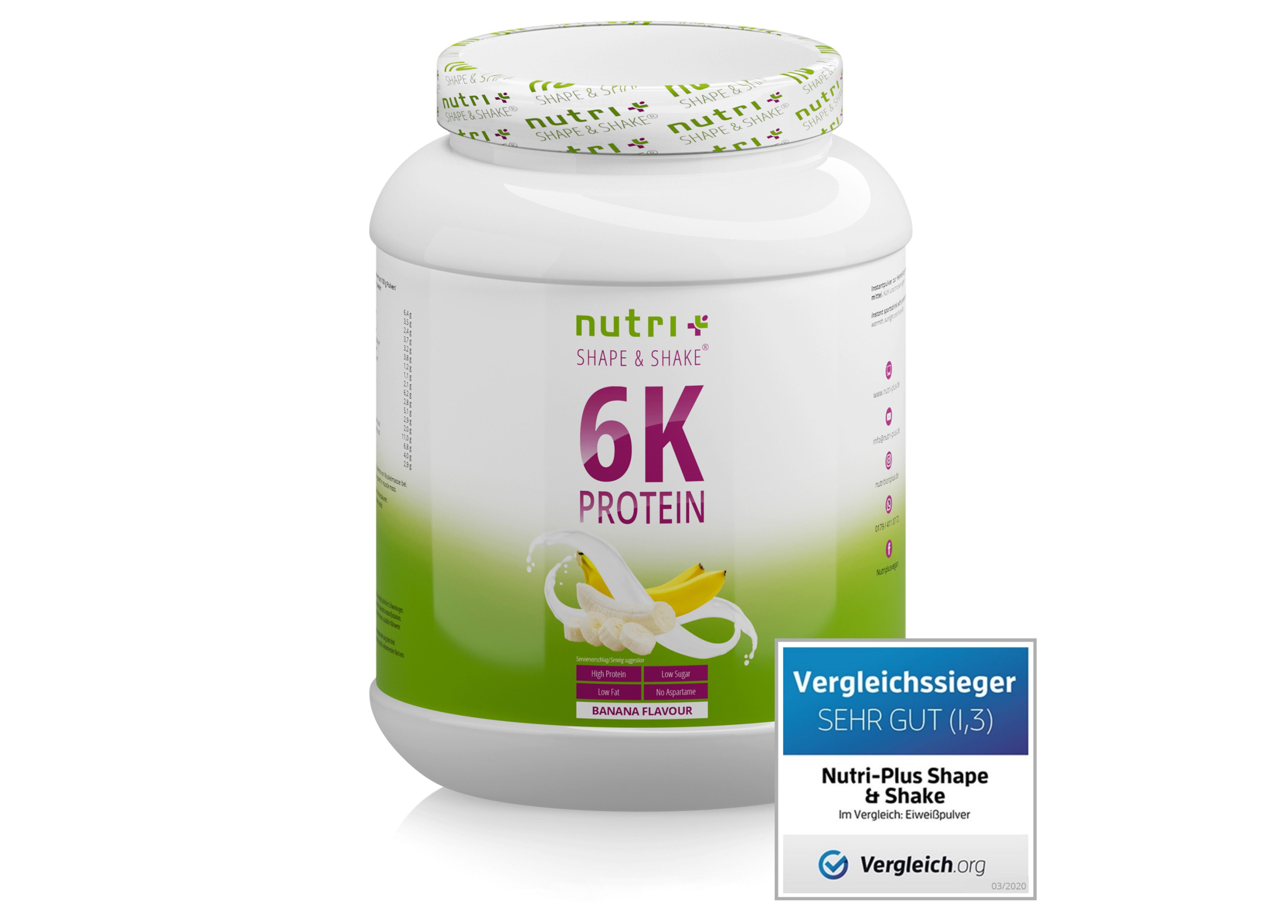 nutri+ Veganes Proteinpulver 6K ohne Laktose 1000g
