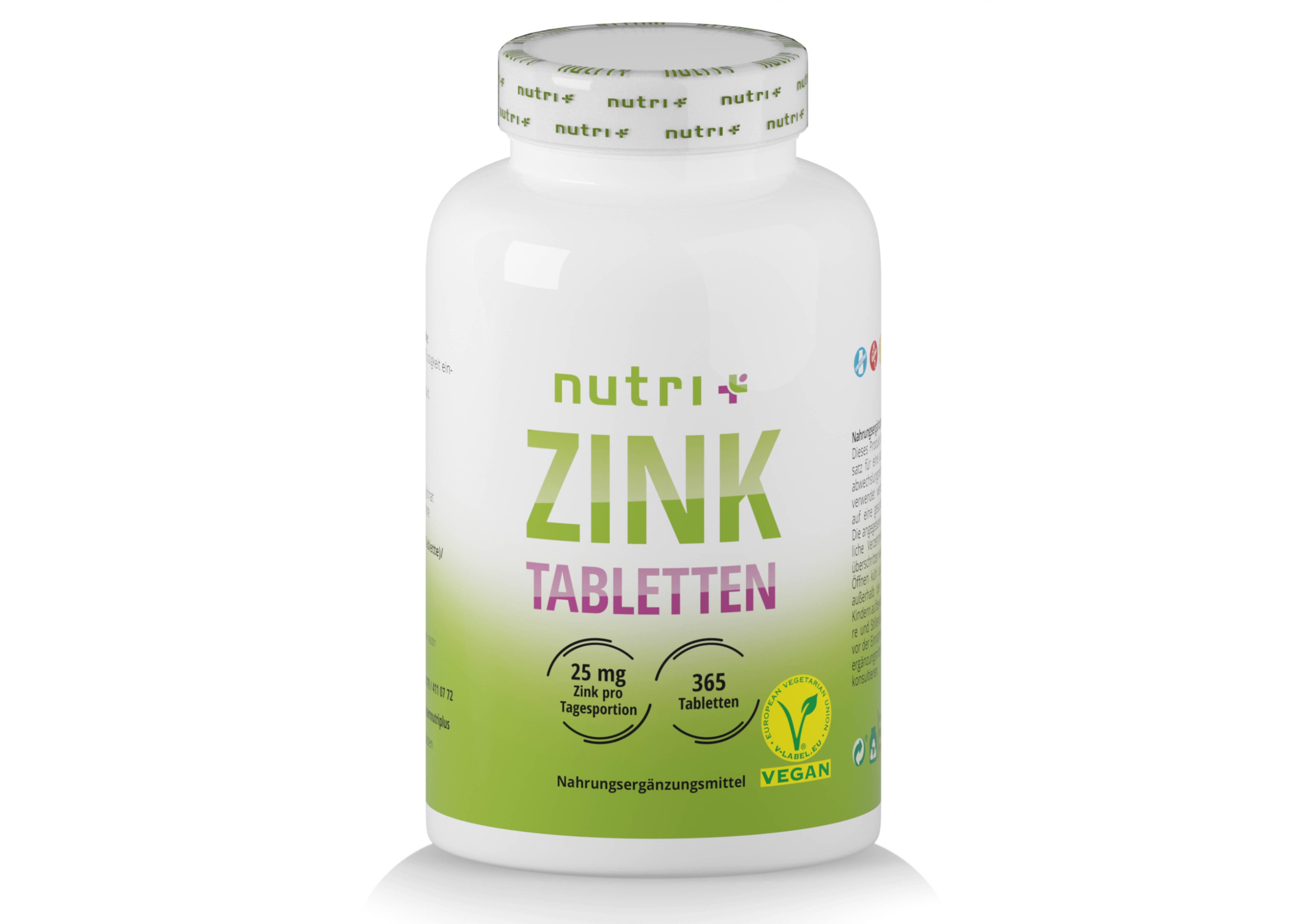 nutri+ Zink Tabletten - 365 hochdosierte Tabletten