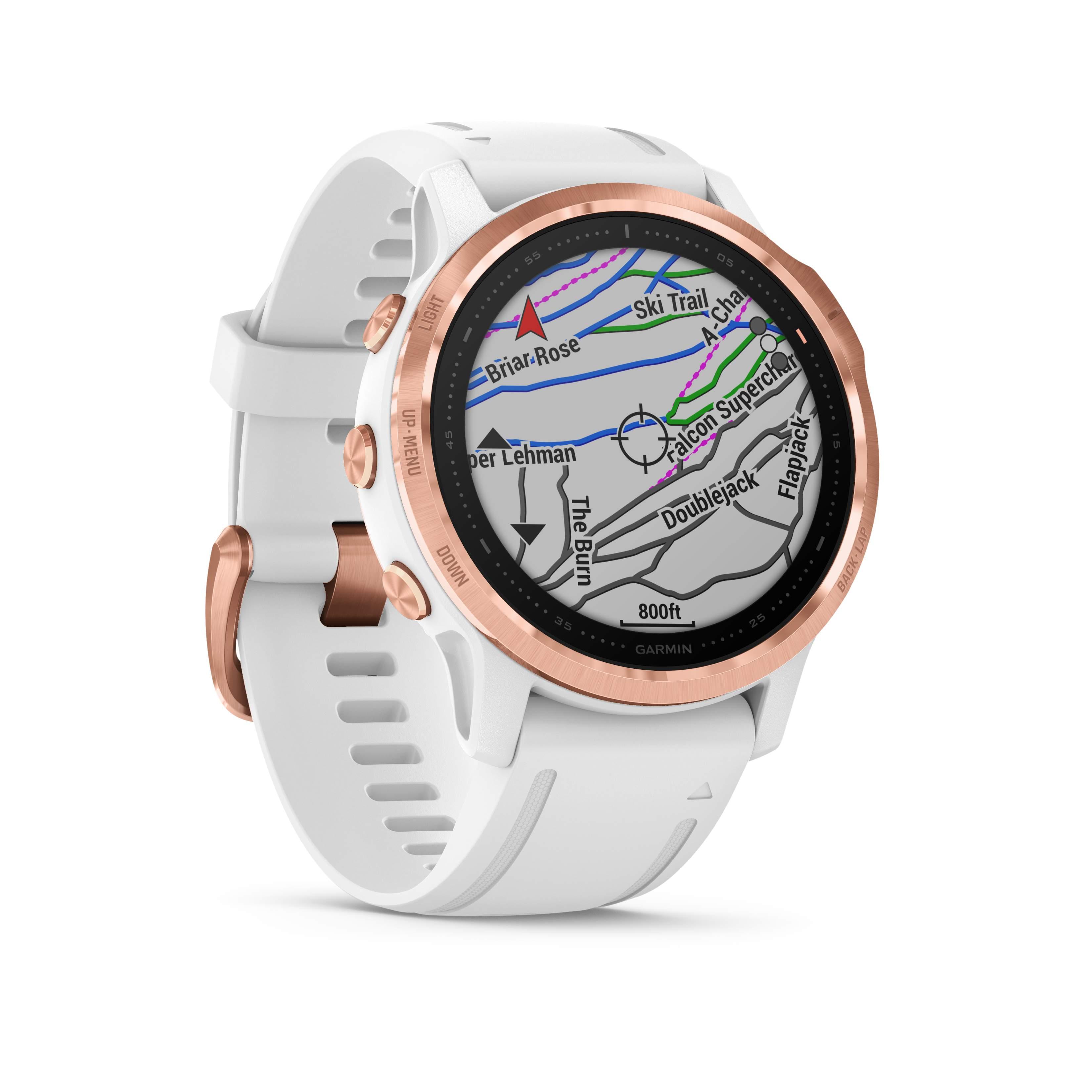 Garmin fēnix® 6S PRO Weiss/Rosegold mit QUICKFIT-Silikon-Armband 20mm