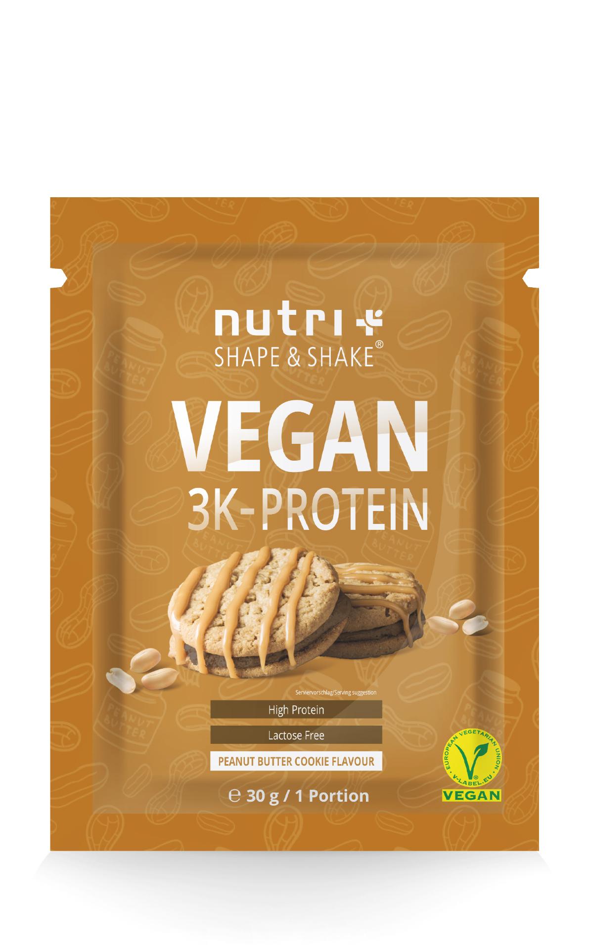 nutri+ Veganes 3K Proteinpulver Probe 30g