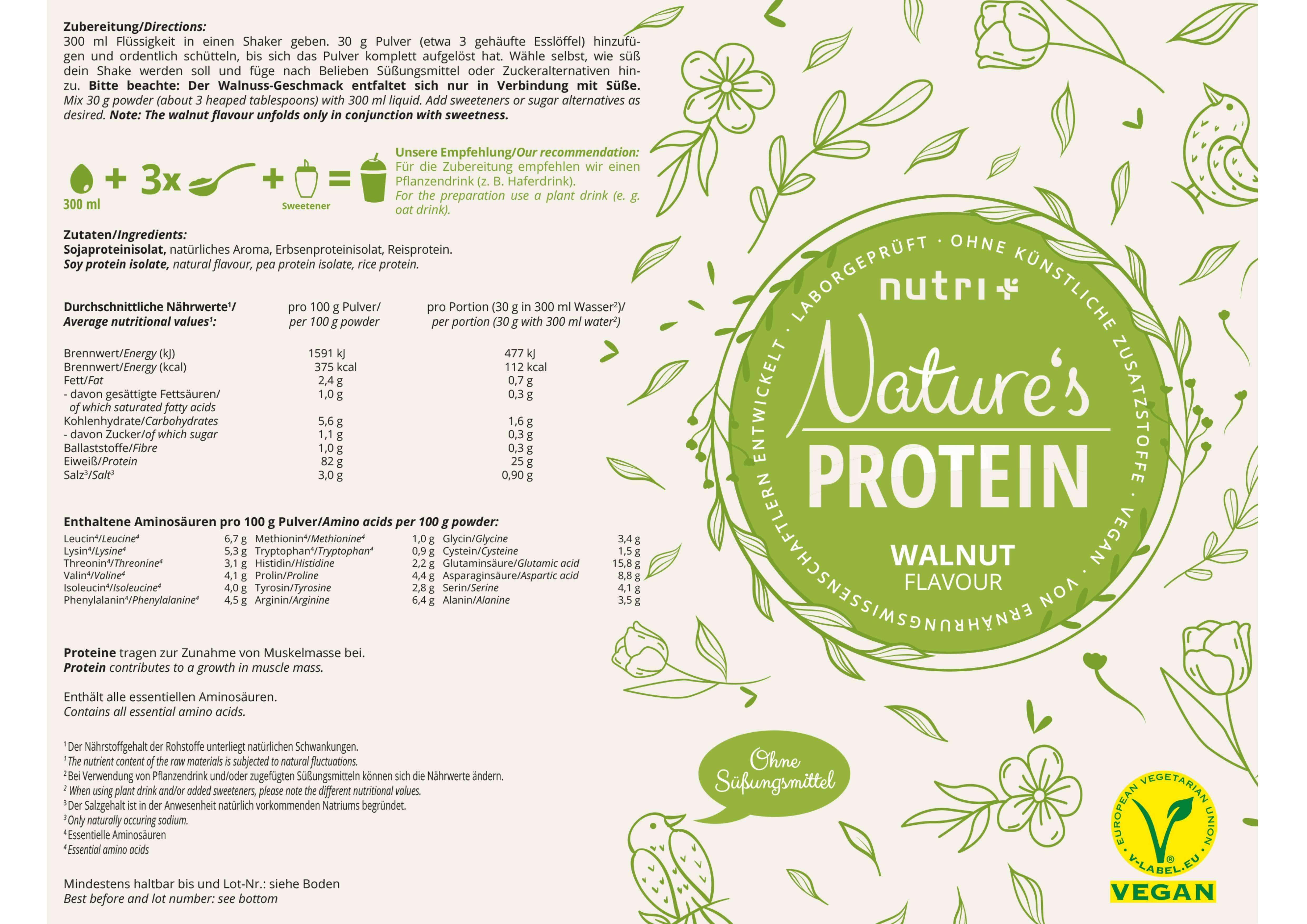 nutri+ Natures Protein - Eiweißpulver ohne Süßstoff