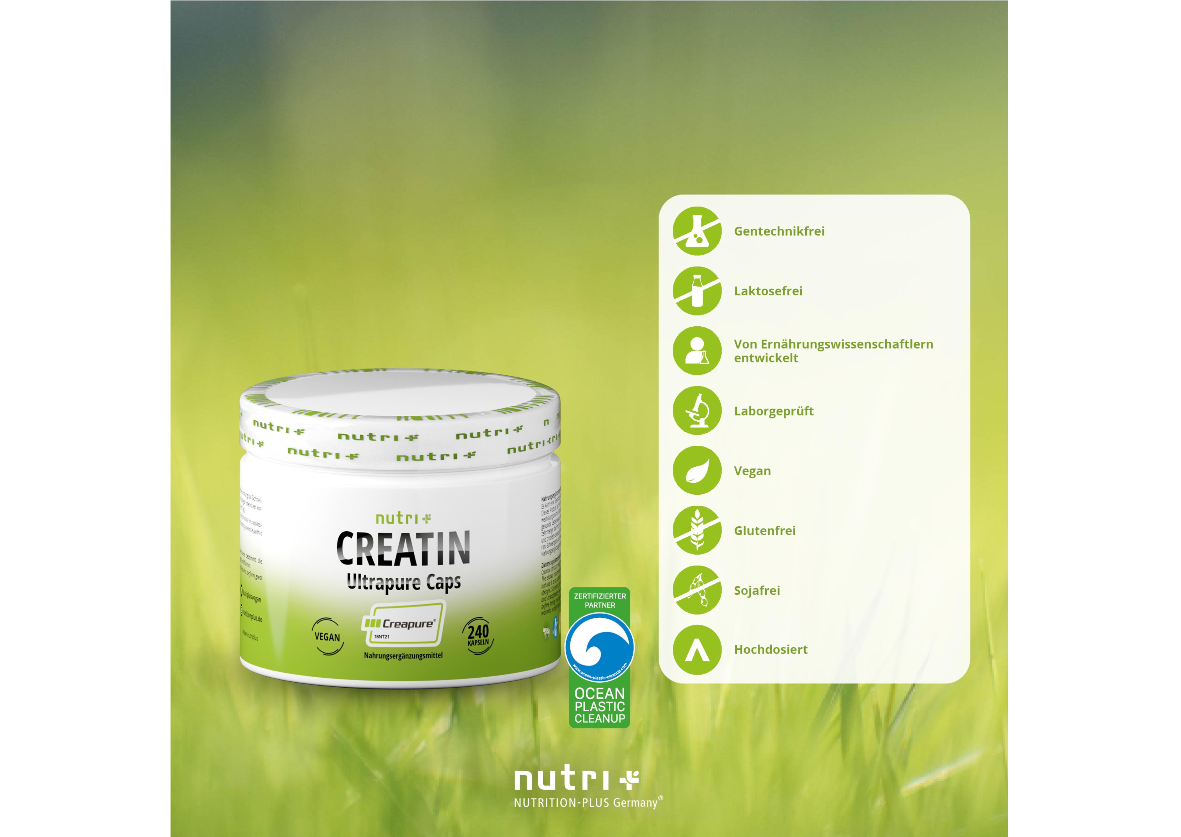nutri+ Creatin Ultrapure Kapseln (Creapure®)