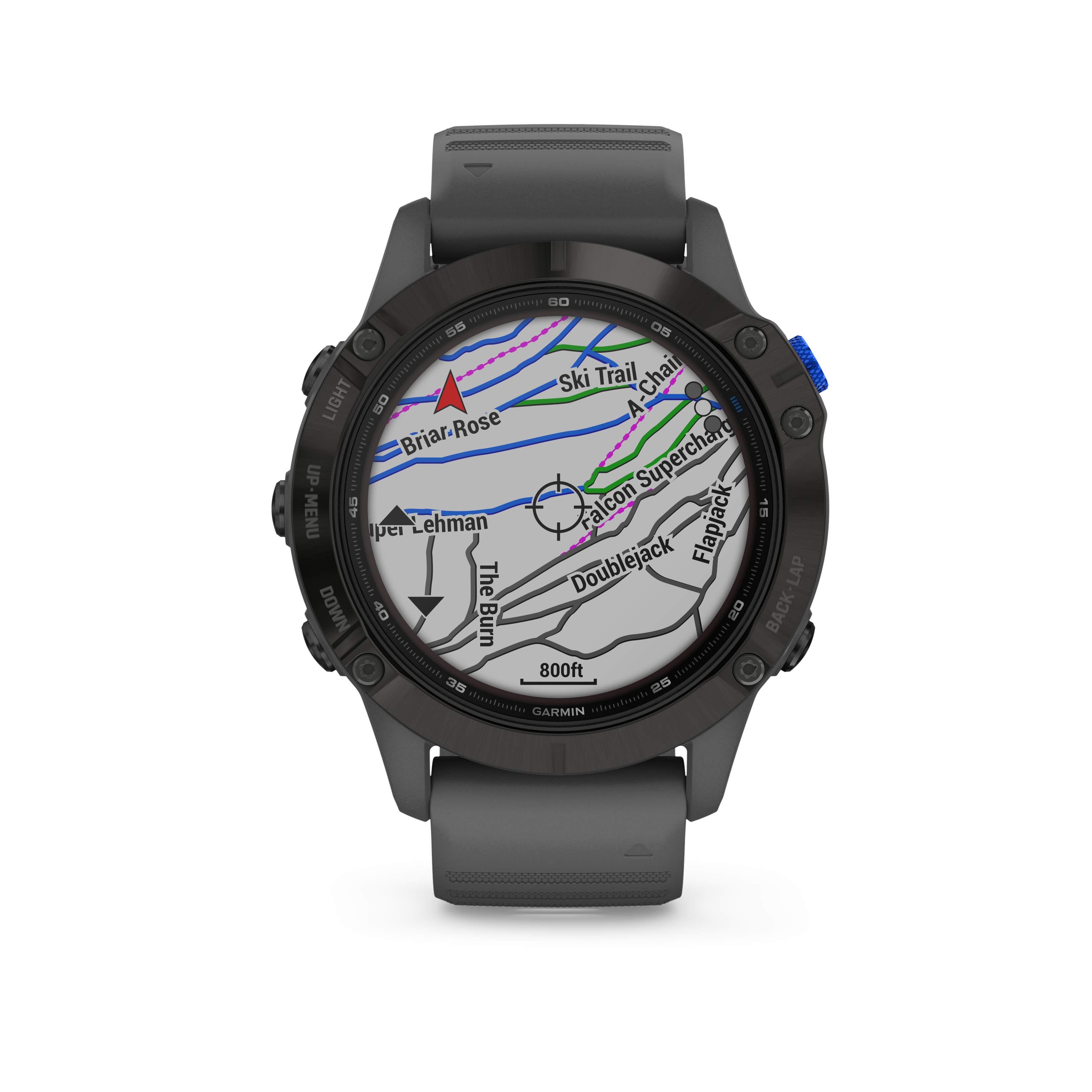 Garmin fēnix 6 – Pro Solar Schwarz mit schiefergrauem Armband