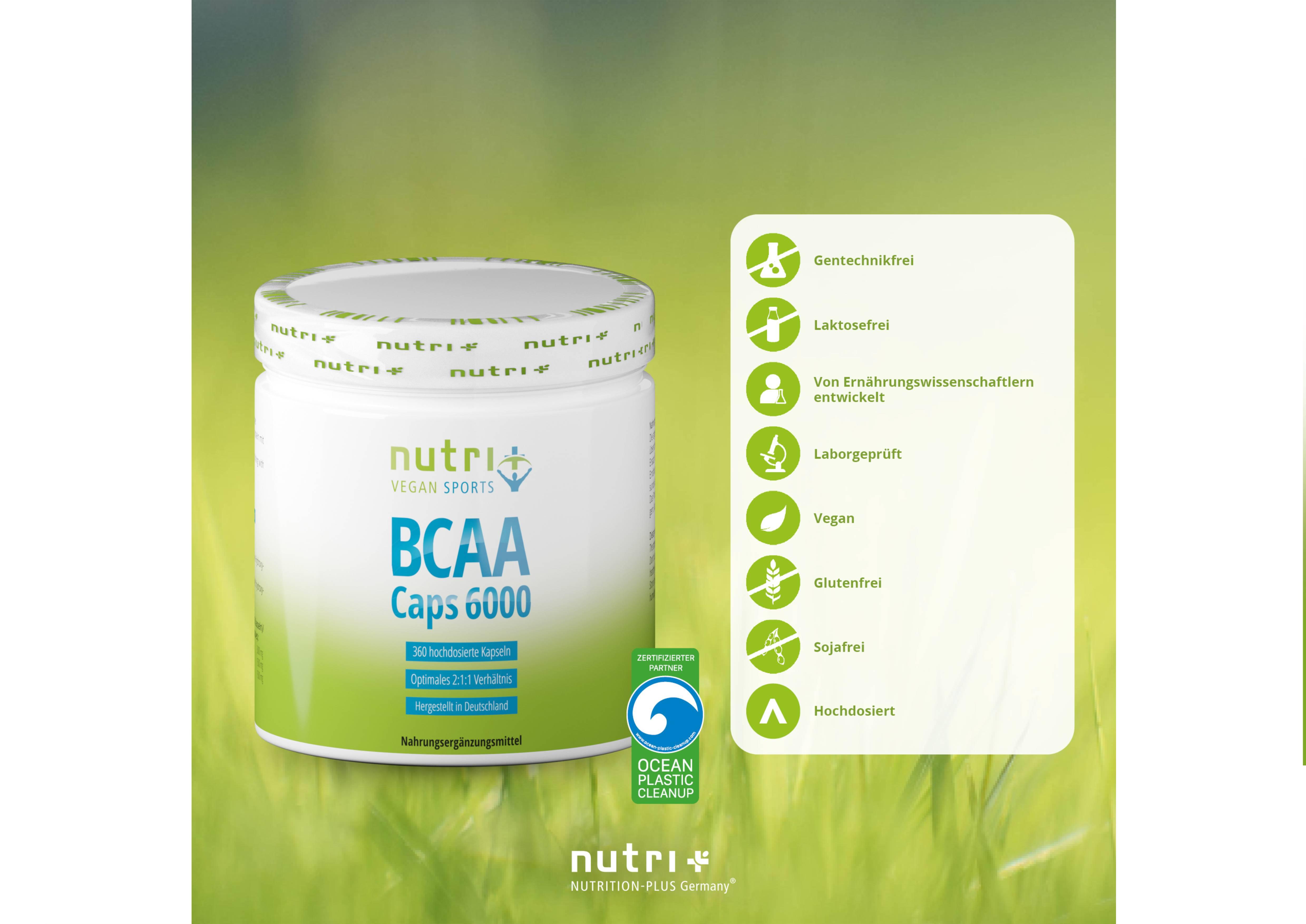 nutri+ BCAA Kapseln 2:1:1 Vegan